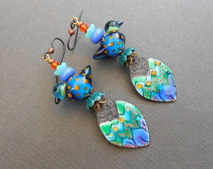 Bird earrings,Summer earrings,Floral earrings,Leaf earrings,Enamel earrings,Lampwork earrings,Enamelled copper earrings,Niobium earrings