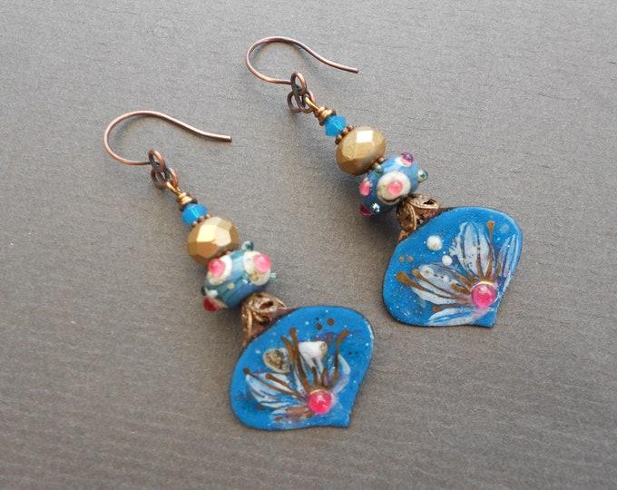 Flower earrings,Summer earrings,Floral earrings,Lampwork earrings,Enamelled copper earrings,Enamel earrings,OOAK earrings,Glass earrings