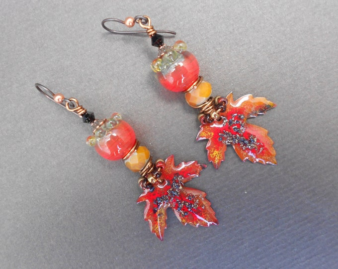 Boho earrings,Autumn earrings,Lampwork earrings,Enamel earrings,Leaf earrings,OOAK earrings,Niobium earrings,Red earrings,Artisan earrings