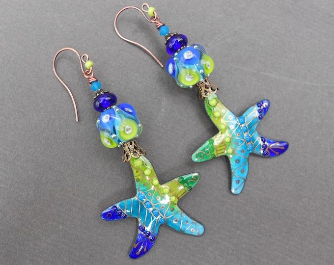 Starfish earrings,Tropical earrings,Sea earrings,Lampwork earrings,Enamel earrings,Enamelled copper earrings,OOAK earrings,Beach earrings