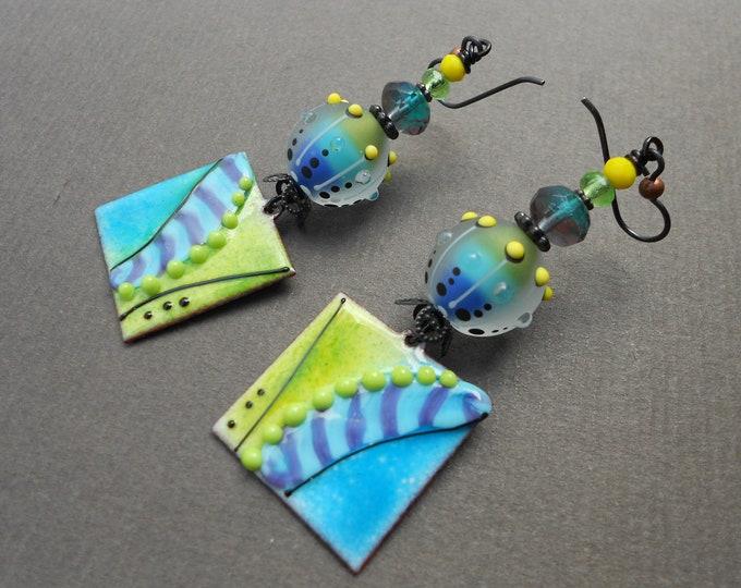 Abstract earrings,Geometric earrings,Contemporary earrings,Lampwork earrings,Enamelled copper earrings,OOAK earrings,Niobium earrings,Boho