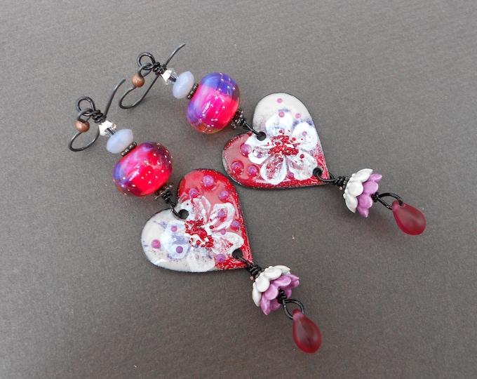 Heart earrings,Boho earrings,OOAK earrings,Long earrings,Floral earrings,Romantic earrings,Enamel earrings,Lampwork earrings,Niobium