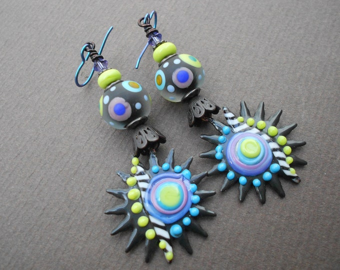 Boho earrings,Niobium earrings,Sunburst earrings,Enamel earrings,Lampwork earrings,Copper earrings,OOAK earrings,Abstract earrings,Artisan