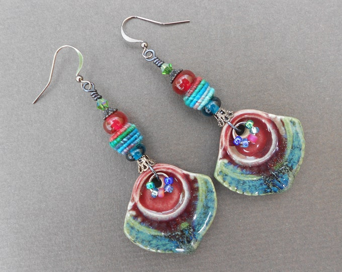 Boho earrings,Tribal earrings,Summer earrings,Ceramic earrings,Fabric earrings,OOAK earrings,Multicolour earrings,
