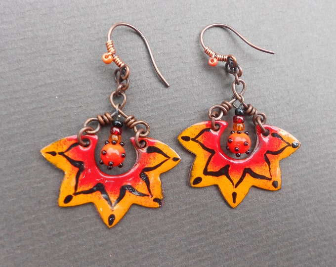 Boho earrings,Summer earrings,Floral earrings,Copper earrings,OOAK earrings,Glass earrings,Ombre earrings,Dangle earrings,Artisan earrings