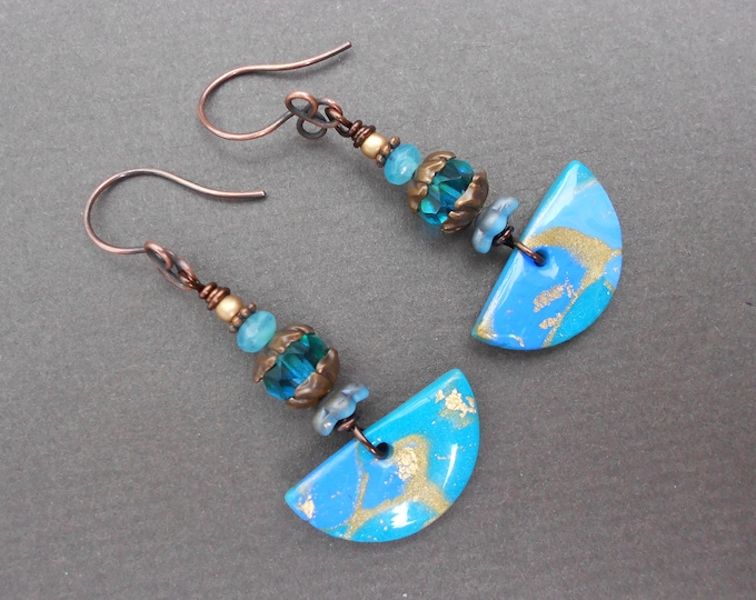Boho earrings,Fan earrings,Polymer clay earrings,Glass earrings,OOAK earrings,Abstract earrings,Tropical earrings,Clay earrings,Artisan,Boho