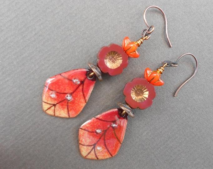 Flower earrings,Floral earrings,Autumn earrings,Enamel earrings,Glass earrings,Leaf earrings,Copper earrings,OOAK earrings,Drop earrings