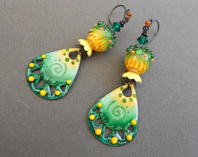 Tropical earrings,Enamelled copper earrings,Spiral earrings,Lampwork earrings,Enamel earrings,OOAK earrings,Artisan earrings,Copper,Boho