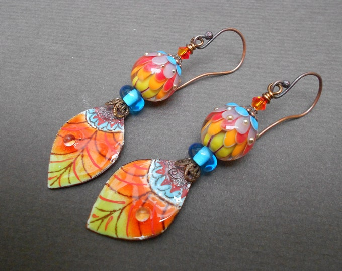 Boho earrings,Multicolour earrings,Leaf earrings,Autumn earrings,Enamel earrings,Lampwork earrings,OOAK earrings,Glass earrings,Copper drops