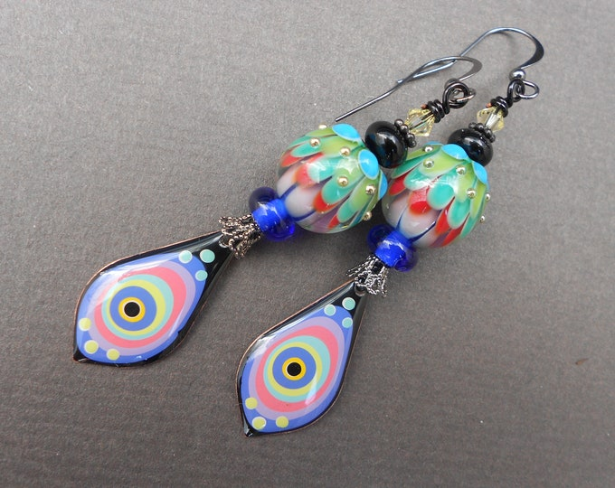 Boho earrings,Abstract earrings,Multicolour earrings,Resin earrings,Teardrop earrings,Lampwork earrings,OOAK earrings,Artisan earring