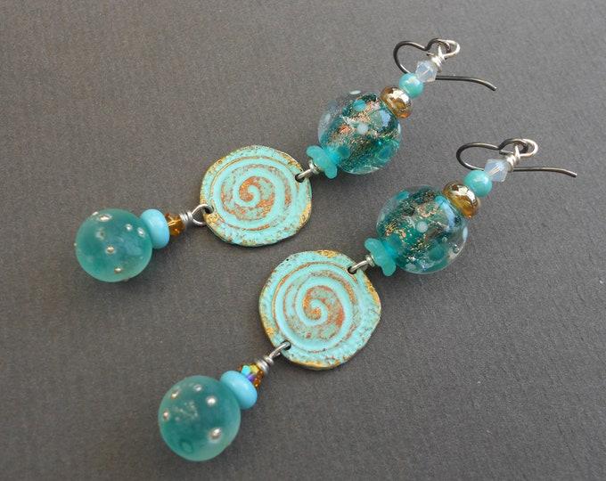 Tropical earrings,Summer earrings,Pewter earrings,Lampwork earrings,Painted earrings,Niobium earrings,Spiral earrings,OOAK earrings,Boho