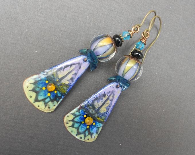Boho earrings,Floral earrings,Flower earrings.Enamel earrings,Lampwork earrings,OOAK earrings,Dangle earrings,Multicolour earrings,Artisan