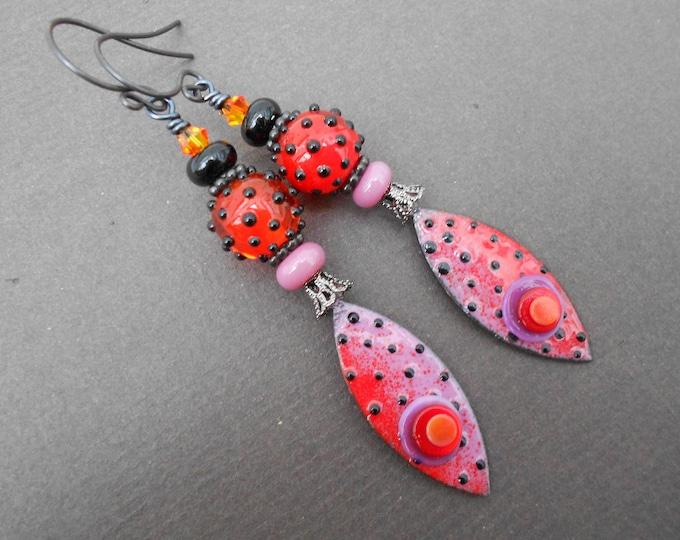Boho earrings,Ombre earrings,Drop earrings,Polka dot earrings,Enamel earrings,Lampwork earrings,Abstract earrings,OOAK earrings