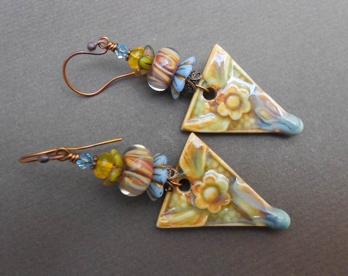 Boho earrings,Flower earrings,Floral earrings,Ceramic earrings,Lampwork earrings,OOAK earrings,Summer earrings,Glass earrings,Artisan drops