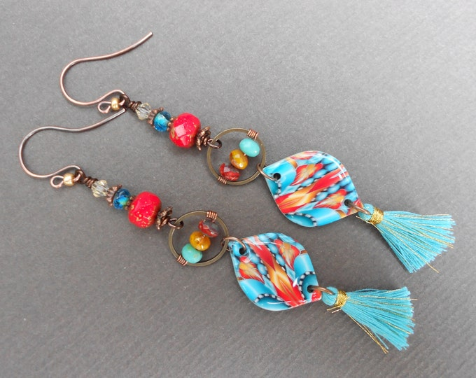 Boho earrings,Tropical earrings,Polymer clay earrings,Tassel earrings,Glass earrings,Abstract earrings,OOAK earrings,Long earrings,Resin