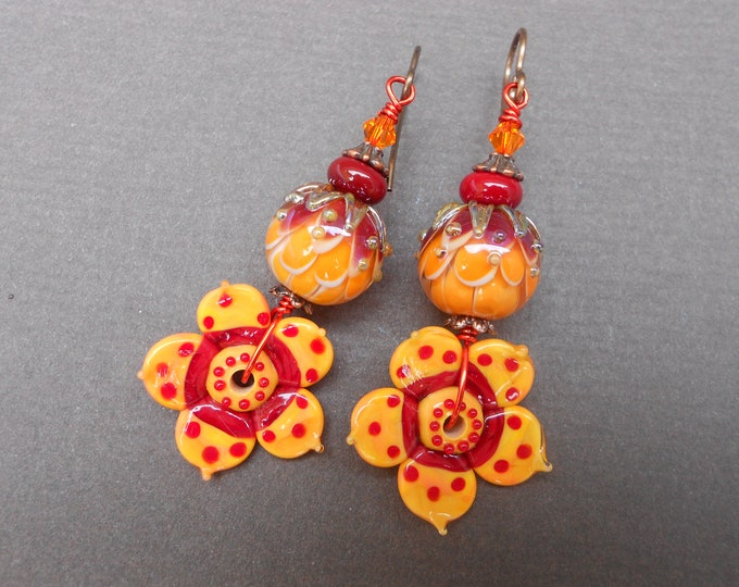 Boho earrings,Flower earrings,Summer earrings,OOAK earrings,Lampwork earrings,Glass earrings,Floral earrings,Artisan earrings,Hippie