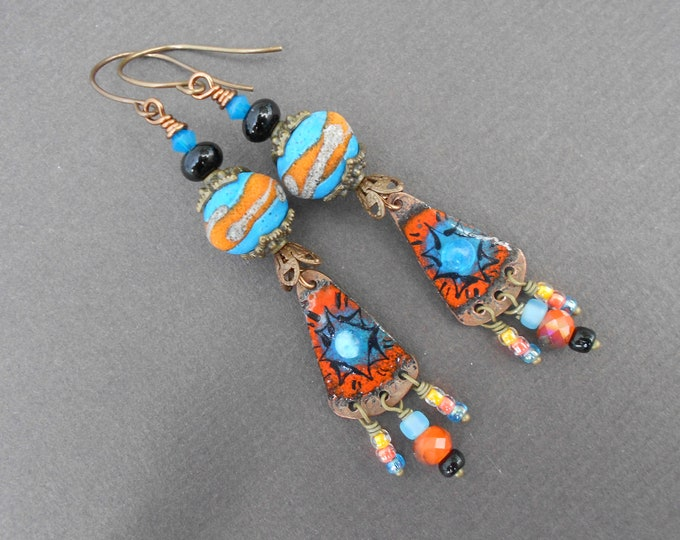 Boho earrings,Ethnic earrings,Dangle earrings,OOAK earrings,Lampwork earrings,Enamel earrings,Multicolour earrings