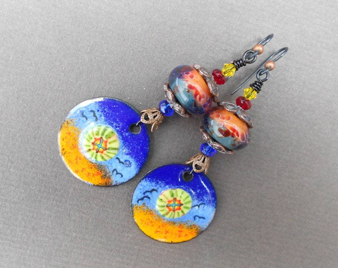 Multicolour earrings,Boho earrings,Enamel earrings,Lampwork earrings,Niobium earrings,OOAK earringgs,Artisan earrings,Dangle earrings,