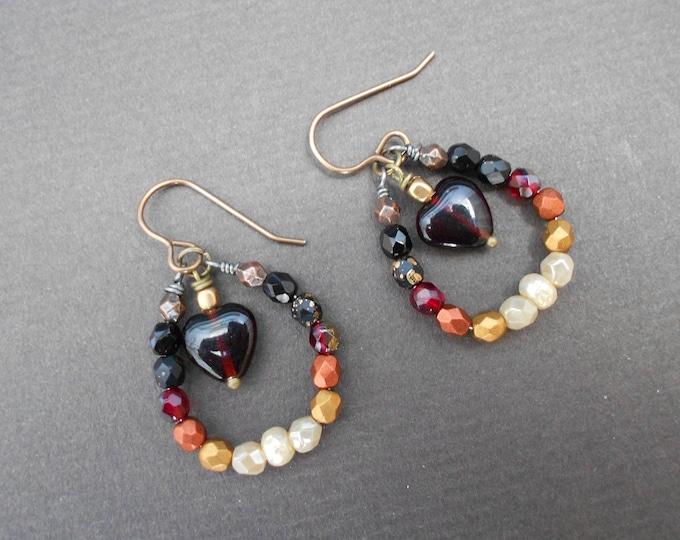 Boho earrings,Semi hoop earrings,Heart earrings,Romantic earrings,Glass earrings,Valentine's day gift,Dangle earrings,Ombre earrings