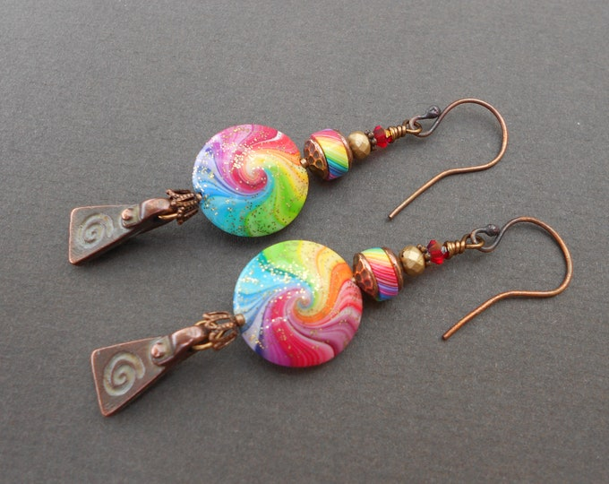 Multicolour earrings,Boho earrings,Polymer clay earrings,Swirl earrings,Spiral earrings,Rainbow earrings,Statement earrings,Summer earrings
