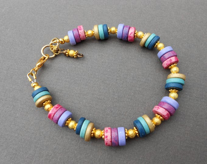 Rainbow bracelet,multicolour bracelet,ceramic bracelet,boho bracelet, beaded bracelet,ceramic bracelet,summer bracelet,multicolour bracelet