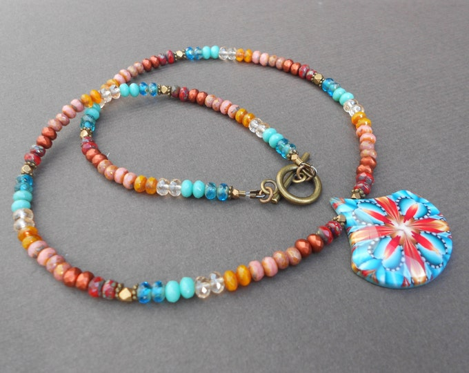 Multicolour necklace,Beaded necklace,Abstract necklace,Pendant necklace,Clay necklace,Glass necklace,Autumn necklace,OOAK necklace,Artisan