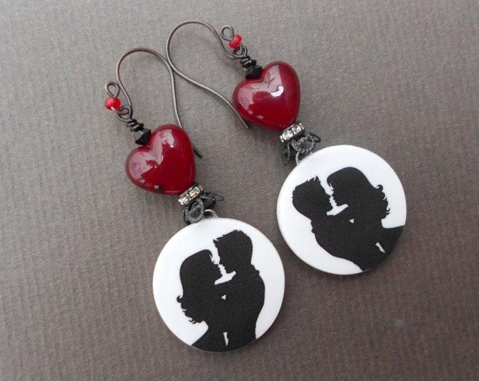 Romantic earrings,Silhouette earrings,Heart earrings,Porcelain earrings,Valentines Day earrings,Lampwork earrings,Statement earrings,OOAK