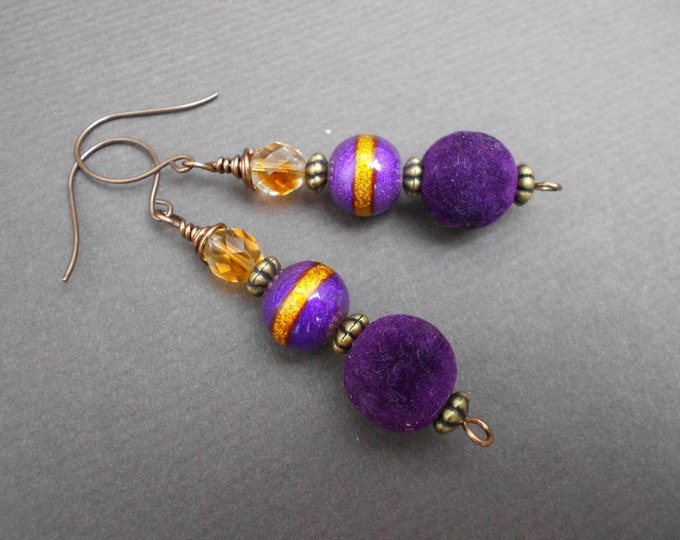 Dangle earrings,Purple earrings,Boho earrings,Drop earrings,Multicolour earrings,Acrylic earrings,Glass earrings,Long earrings