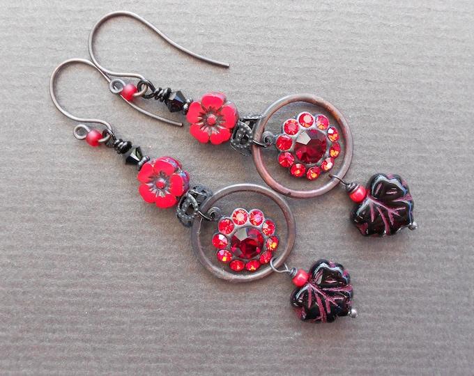 Flower earrings,Prom earrings,Swarovski earrings,Glass earrings,Hoop earrings,Rhinestone earrings,Leaf earrings,OOAK earrings,Copper,Drops