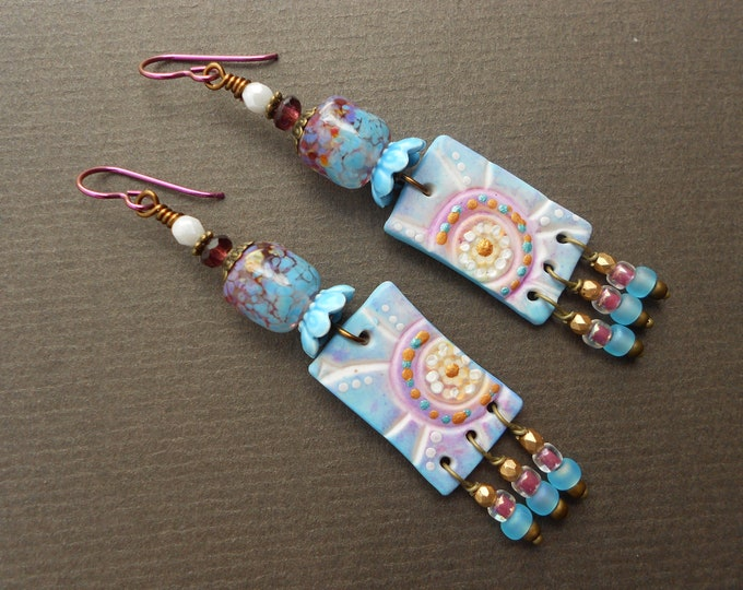 Tropical earrings,Polymer clay earrings,Clay earrings,Lampwork earrings,Glass earrings,Rectangle earrings,OOAK earrings,Niobium earrings