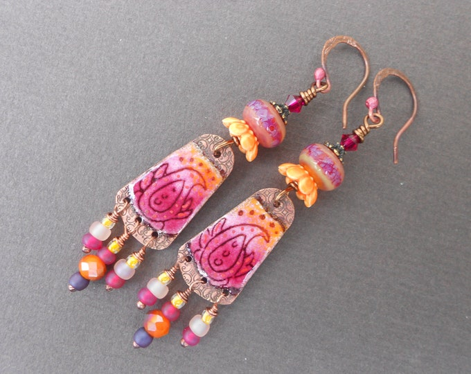 Ethnic earrings,Boho earrings,OOAK earrings,Dangle earrings,Lampwork earrings,Enamel earrings,Ceramic earrings,Artisan earrings