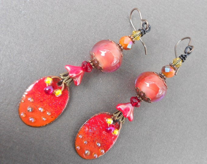 Boho earrings,Red earrings,Enamel earrings,Dangle earrings,Lampwork earrings,OOAK earrings,Artisan earrings,Glass earrings