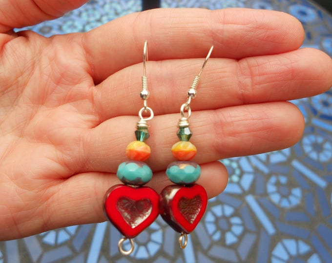 Heart earrings,Multicolour earrings,Czech glass earrings,Valentine's day earrings,Drop earrings,Dangling earrings,Red heart earrings