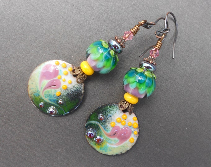 Boho earrings,Multicolour earrings,Abstract earrings,Floral earrings,Enamel earrings,Lampwork earrings,OOAK earrings,Dangle earrings,Artisan