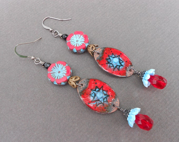 Boho earrings,Flower earrings,Enamel earrings,Gloral earrings,Czech glass earrings,Red earrings,Dangle earrings,Multicolour earrings