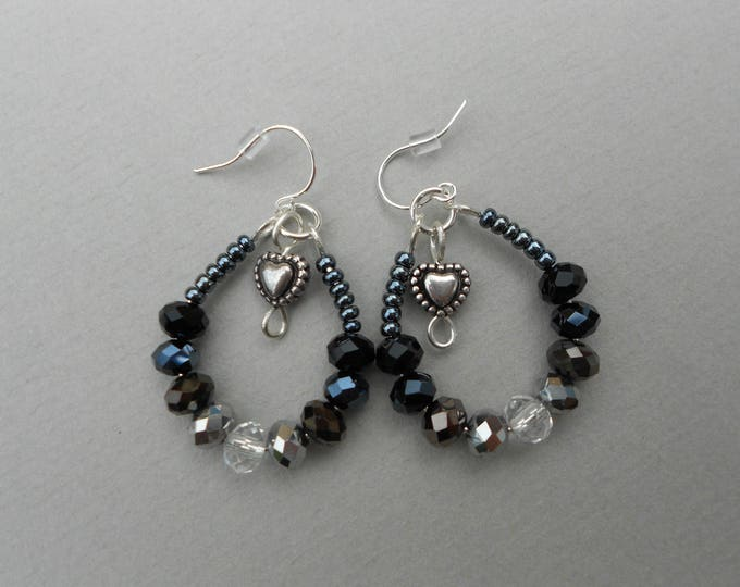 Black and clear crystal earrings,monochrome drop earrings,heart earrings,black hoop earrings