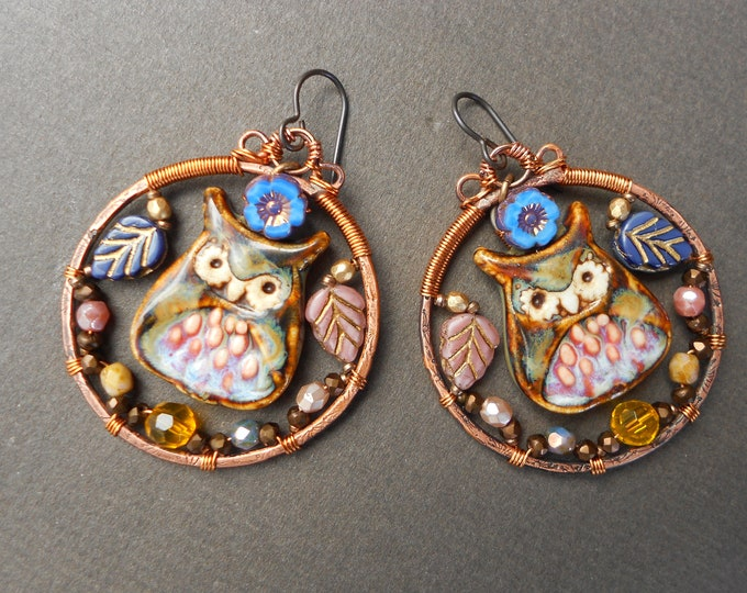 Owl earrings,Wire Wrapped earrings,Hoop earrings,Autumn earrings,Glass earrings,Ceramic earrings,Copper earrings,OOAK earrings,Niobium,Boho