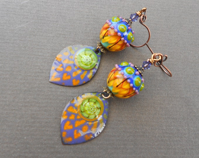 Boho earrings,Enamelled copper earrings,Lampwork earrings,Enamel earrings,Exotic earrings,OOAK earrings,Copper earrings,Glass earrings
