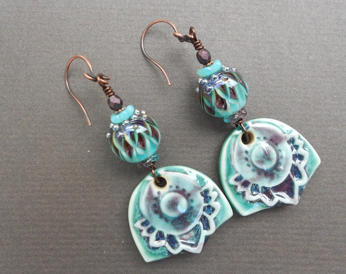 Flower earrings,Ceramic earrings,Floral earrings,Lampwork earrings,Glass earrings,Summer earrings,OOAK earrings,Boho earrings,Artisan
