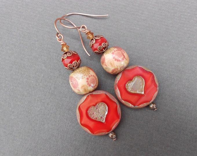 Romantic earrings,Heart earrings,Valentines day earrings,Glass earrings,Ceramic earrings,Vintaage earrings,Boho earrings,Long earrings,OOAK