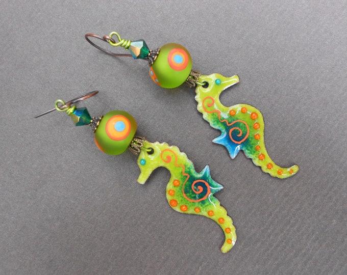 Seahorse earrings,Tropical earrings,Sea earrings,Enamelled copper earrings,Lampwork earrings,Enamel earrings,OOAK earrings,Summer earrings