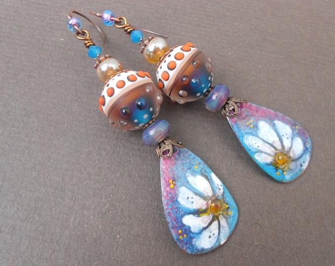 Boho earrings,Ombre earrings,Flower earrings,Dangle earrings,Enamel earrings,Lampwork earrings,Floral earrings,OOAK earrings,Artisan drops