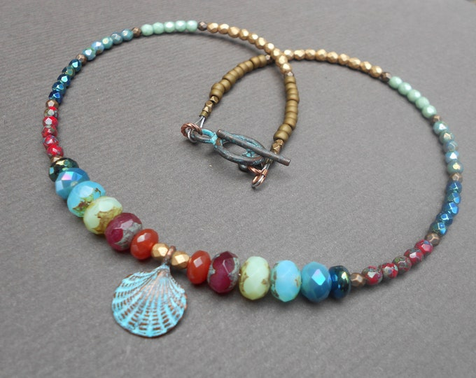 Sea necklace,Marine necklace,Beach necklace,Multicolour necklace,Tropical necklace,Boho necklace,Shell necklace,Beaded necklace,Ombre