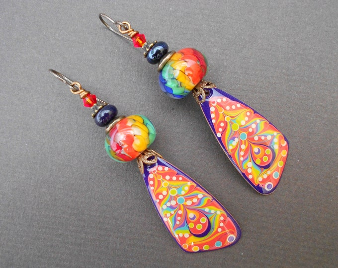 Boho earrings,Rainbow earrings,Abstract earrings,Wing earrings,Resin earrings,Lampwork earrings,OOAK earrings,Artisan earrings,Copper drops