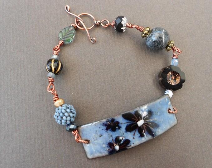 Flower bracelet,Large Size bracelet,Summer bracelet,Enamel bracelet,Copper bracelet,OOAK bracelet,Glass bracelet,Floral bracelet,Boho