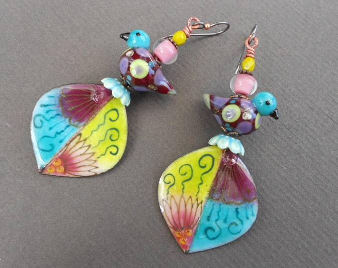 Boho earrings,Multicolour earrings,OOAK earrings,Bird earrings,Lampwork earrings,Enamel earrings,Niobium earrings,Leaf earrings,Artisan