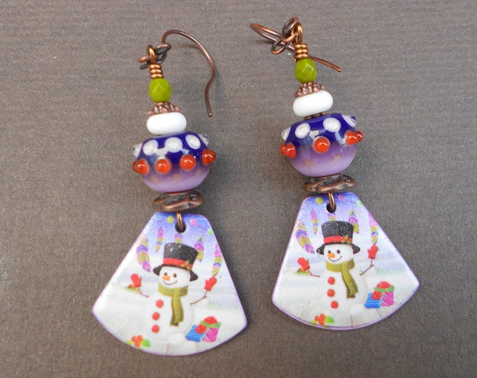 Snowman earrings,Christmas earrings,Winter earrings,Lampwork earrings,Polymer clay earrings,OOAK earrings,Dangle earrings,Artisan earrings