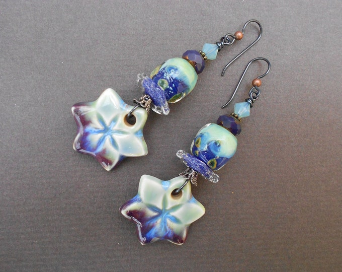 Flower earrings,Floral earrings,Boho earrings,Ceramic earrings,Lampwork earrings,OOAK earrings,Boho earrings,Niobium earrings,Artisan