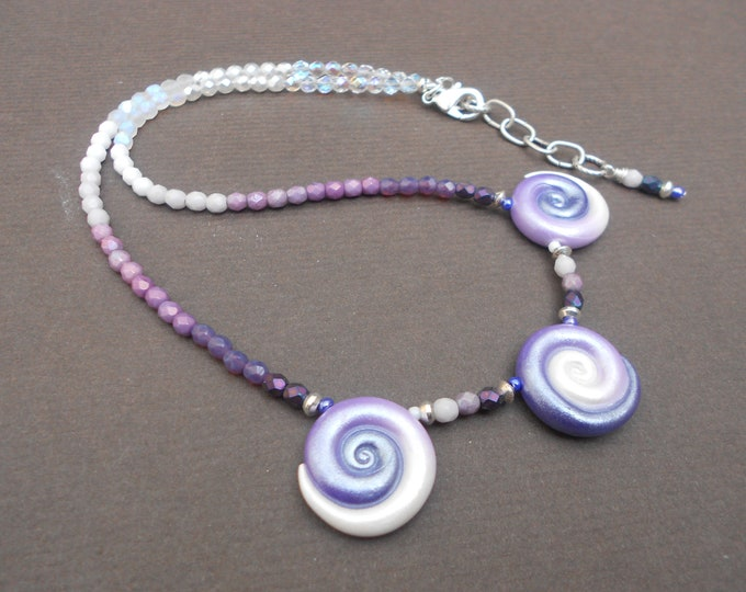 Boho necklace,Beaded necklace,Polymer clay necklace,Glass necklace,Ombre necklace,Statement necklace,Artisan necklace,OOAK necklace,Swirl