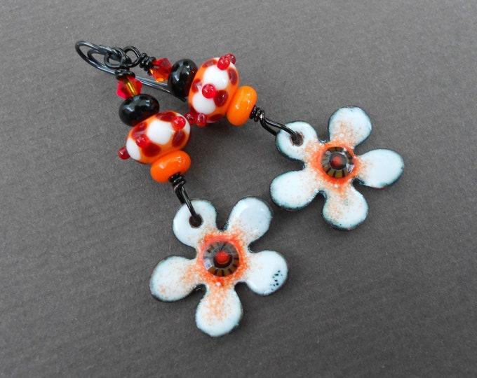 Flower earrings,Summer earrings,Lampwork earrings,Enamel earrings,Boho earrings,OOAK earrings,Dangle earrings,Multicolour earrings